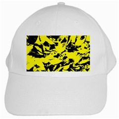 Yellow Black Abstract Military Camouflage White Cap