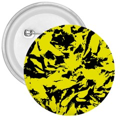 Yellow Black Abstract Military Camouflage 3  Buttons by Costasonlineshop