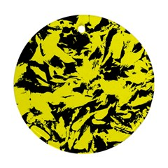 Yellow Black Abstract Military Camouflage Ornament (round) by Costasonlineshop