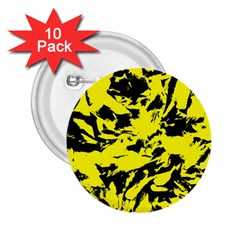 Yellow Black Abstract Military Camouflage 2 25  Buttons (10 Pack)  by Costasonlineshop