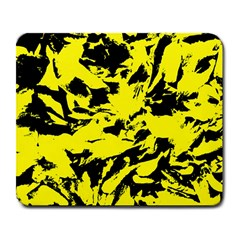 Yellow Black Abstract Military Camouflage Large Mousepads by Costasonlineshop