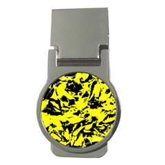 Yellow Black Abstract Military Camouflage Money Clips (round)  by Costasonlineshop
