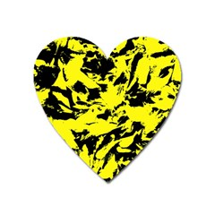 Yellow Black Abstract Military Camouflage Heart Magnet by Costasonlineshop