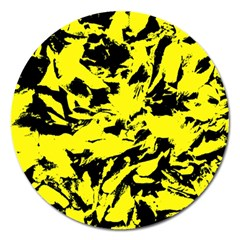 Yellow Black Abstract Military Camouflage Magnet 5  (round) by Costasonlineshop