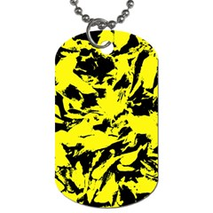 Yellow Black Abstract Military Camouflage Dog Tag (one Side) by Costasonlineshop