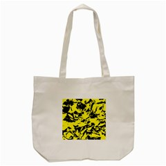 Yellow Black Abstract Military Camouflage Tote Bag (cream) by Costasonlineshop