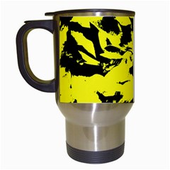 Yellow Black Abstract Military Camouflage Travel Mugs (white) by Costasonlineshop