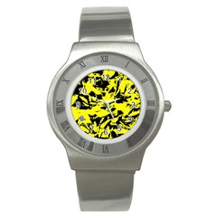 Yellow Black Abstract Military Camouflage Stainless Steel Watch by Costasonlineshop
