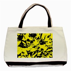 Yellow Black Abstract Military Camouflage Basic Tote Bag