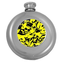 Yellow Black Abstract Military Camouflage Round Hip Flask (5 Oz) by Costasonlineshop