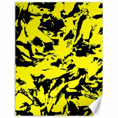 Yellow Black Abstract Military Camouflage Canvas 12  X 16   by Costasonlineshop