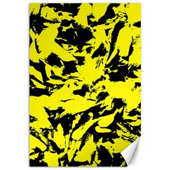 Yellow Black Abstract Military Camouflage Canvas 12  X 18   by Costasonlineshop