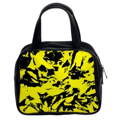 Yellow Black Abstract Military Camouflage Classic Handbags (2 Sides) by Costasonlineshop