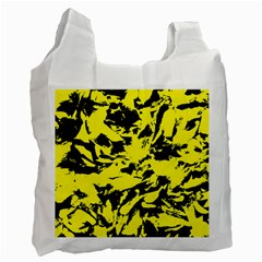 Yellow Black Abstract Military Camouflage Recycle Bag (two Side)  by Costasonlineshop
