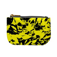 Yellow Black Abstract Military Camouflage Mini Coin Purses by Costasonlineshop