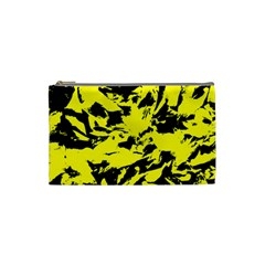 Yellow Black Abstract Military Camouflage Cosmetic Bag (small)  by Costasonlineshop