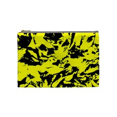 Yellow Black Abstract Military Camouflage Cosmetic Bag (medium)  by Costasonlineshop