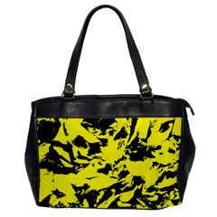 Yellow Black Abstract Military Camouflage Office Handbags by Costasonlineshop