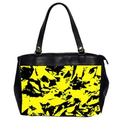 Yellow Black Abstract Military Camouflage Office Handbags (2 Sides)  by Costasonlineshop