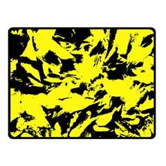 Yellow Black Abstract Military Camouflage Fleece Blanket (small) by Costasonlineshop