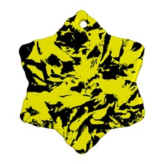 Yellow Black Abstract Military Camouflage Ornament (snowflake) by Costasonlineshop