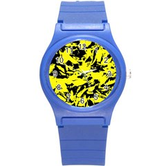 Yellow Black Abstract Military Camouflage Round Plastic Sport Watch (s) by Costasonlineshop