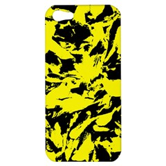 Yellow Black Abstract Military Camouflage Apple Iphone 5 Hardshell Case by Costasonlineshop