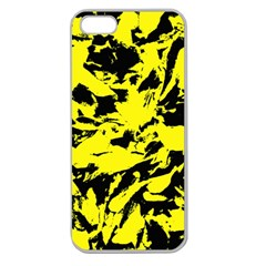 Yellow Black Abstract Military Camouflage Apple Seamless Iphone 5 Case (clear) by Costasonlineshop
