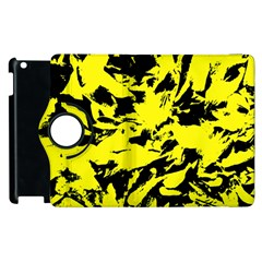 Yellow Black Abstract Military Camouflage Apple Ipad 2 Flip 360 Case by Costasonlineshop
