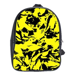 Yellow Black Abstract Military Camouflage School Bag (xl)