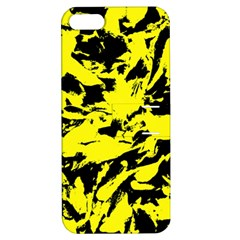 Yellow Black Abstract Military Camouflage Apple Iphone 5 Hardshell Case With Stand by Costasonlineshop