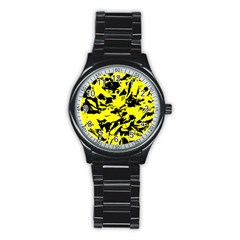 Yellow Black Abstract Military Camouflage Stainless Steel Round Watch by Costasonlineshop
