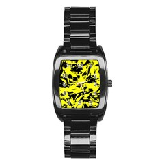 Yellow Black Abstract Military Camouflage Stainless Steel Barrel Watch by Costasonlineshop
