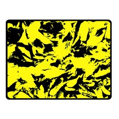 Yellow Black Abstract Military Camouflage Double Sided Fleece Blanket (small)  by Costasonlineshop