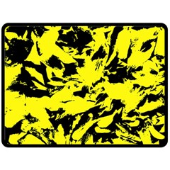 Yellow Black Abstract Military Camouflage Double Sided Fleece Blanket (large)  by Costasonlineshop
