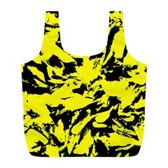 Yellow Black Abstract Military Camouflage Full Print Recycle Bags (l)  by Costasonlineshop