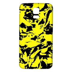 Yellow Black Abstract Military Camouflage Samsung Galaxy S5 Back Case (white) by Costasonlineshop