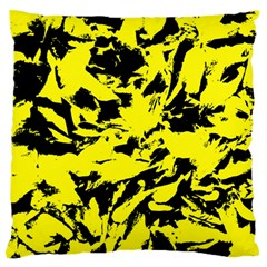 Yellow Black Abstract Military Camouflage Large Flano Cushion Case (one Side) by Costasonlineshop