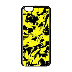 Yellow Black Abstract Military Camouflage Apple Iphone 6/6s Black Enamel Case by Costasonlineshop