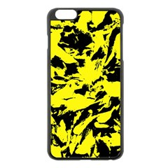 Yellow Black Abstract Military Camouflage Apple Iphone 6 Plus/6s Plus Black Enamel Case by Costasonlineshop