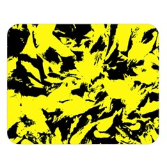 Yellow Black Abstract Military Camouflage Double Sided Flano Blanket (large)  by Costasonlineshop