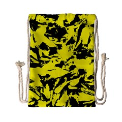 Yellow Black Abstract Military Camouflage Drawstring Bag (small) by Costasonlineshop