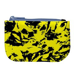 Yellow Black Abstract Military Camouflage Large Coin Purse by Costasonlineshop