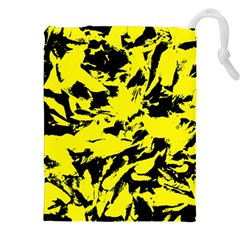Yellow Black Abstract Military Camouflage Drawstring Pouches (xxl) by Costasonlineshop