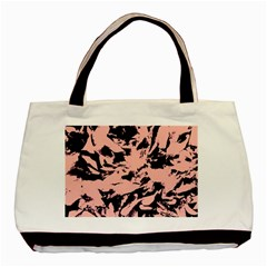 Old Rose Black Abstract Military Camouflage Basic Tote Bag by Costasonlineshop