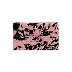 Old Rose Black Abstract Military Camouflage Cosmetic Bag (small)  by Costasonlineshop