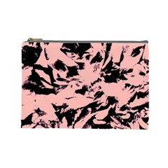 Old Rose Black Abstract Military Camouflage Cosmetic Bag (large)  by Costasonlineshop