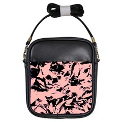 Old Rose Black Abstract Military Camouflage Girls Sling Bags by Costasonlineshop