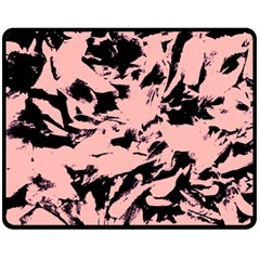 Old Rose Black Abstract Military Camouflage Fleece Blanket (medium)  by Costasonlineshop