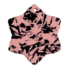 Old Rose Black Abstract Military Camouflage Snowflake Ornament (two Sides) by Costasonlineshop